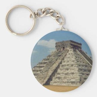 Chichen Itza Basic Round Button Key Ring