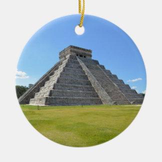 Chichen Itza Mexico Kukulkan Pyramid 7 Wonders Round Ceramic Decoration