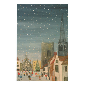 Chichester Cathedral A Snow Scene Wood Wall Art