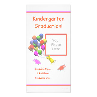 Chick and Balloons Kindergarten Graduation Photo Card Template