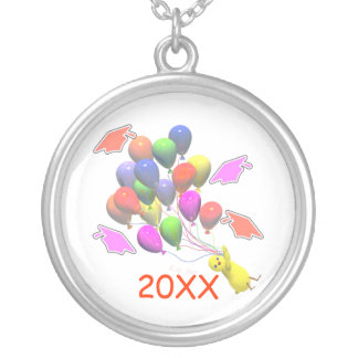 Chick and Balloons Kindergarten Graduation Silver Plated Necklace