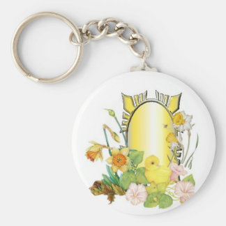 Chick and  daffodils key ring