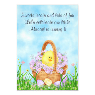 Chick and Easter Basket 1st Birthday Invitation