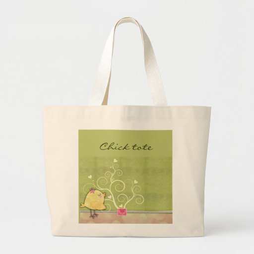 Chick and flower heart tree baby shower jumbo tote bag