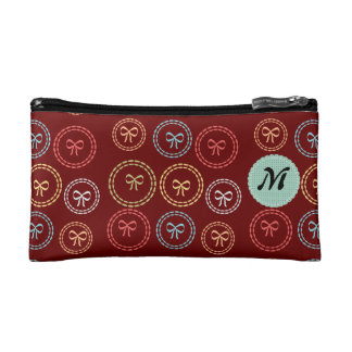 Chick Bright Cute Girly Bow Pattern Monogram Cosmetic Bags