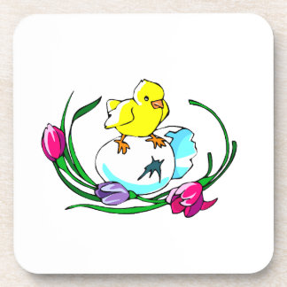 chick egg tulip cute easter design beverage coasters