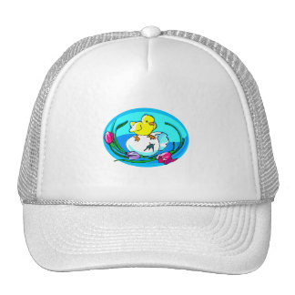 chick egg tulips teal oval hats