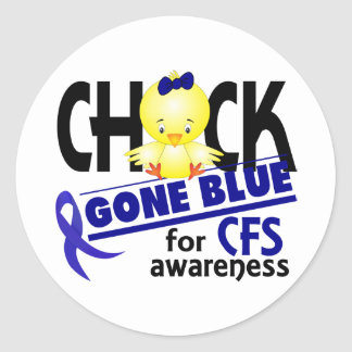 Chick Gone Blue For CFS Chronic Fatigue Syndrome 2 Round Sticker
