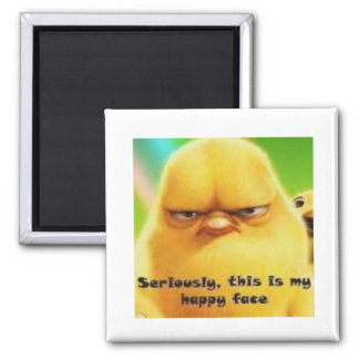 Chick Happy Face Square Magnet