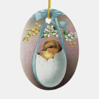 Chick in Dangling Eggshell Vintage Easter Ceramic Oval Decoration