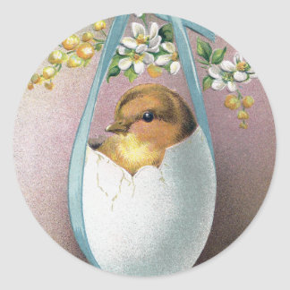 Chick in Dangling Eggshell Vintage Easter Classic Round Sticker