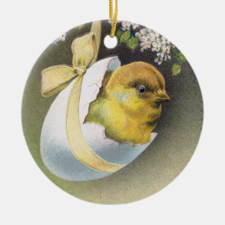 Chick in Hanging Eggshell Vintage Easter Round Ceramic Decoration