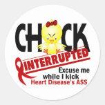 Chick Interrupted 2 Heart Disease Round Sticker
