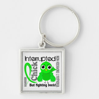 Chick Interrupted 3 Non-Hodgkin's Lymphoma Silver-Colored Square Key Ring