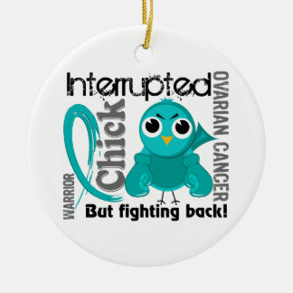Chick Interrupted 3 Ovarian Cancer Christmas Ornament