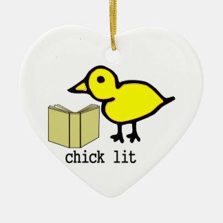 Chick Lit Ceramic Heart Decoration