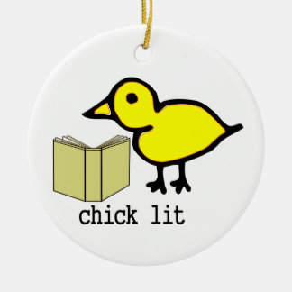 Chick Lit Round Ceramic Decoration