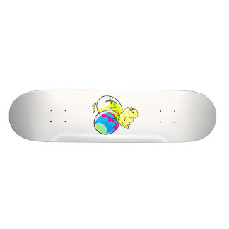 chick on two colored easter eggs custom skate board