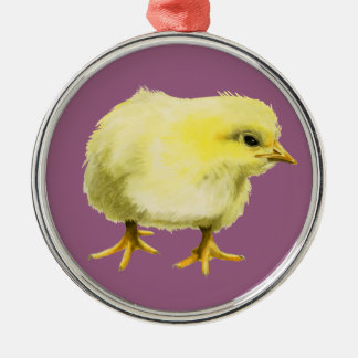Chick Watercolor Painting Christmas Ornament