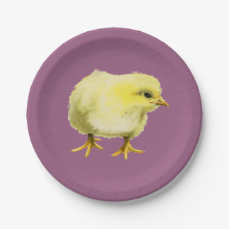 Chick Watercolor Painting Paper Plate