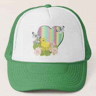 chick with butterflies trucker hat