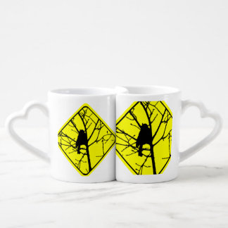 Chickadee Bird Silhouette Caution or Crossing Sign Lovers Mugs