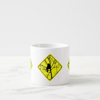 Chickadee Bird Silhouette Caution or Crossing Sign Espresso Cups