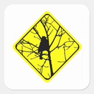 Chickadee Bird Silhouette Caution or Crossing Sign Stickers
