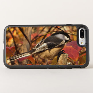 Chickadee Bird with Pink and Red Autumn Leaves OtterBox Symmetry iPhone 7 Plus Case