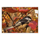 Chickadee Bird with Pink Red Autumn Leaves Card