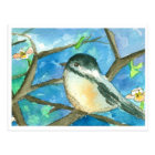 Chickadee Birds Pink Flowers Watercolor Painting Postcard