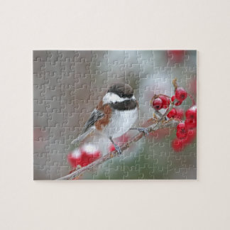 Chickadee in Falling Snow with Red Berries Jigsaw Puzzle