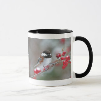 Chickadee in Falling Snow with Red Berries Mug