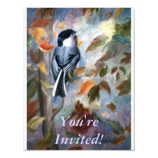 Chickadee In the Fall 11 Cm X 14 Cm Invitation Card