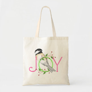 Chickadee Joy Holiday Tote Bag