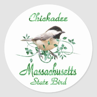 Chickadee Massachusetts State Bird Round Stickers