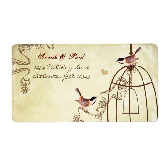 Chickadee Musical Bird Cage Swirl Return Address