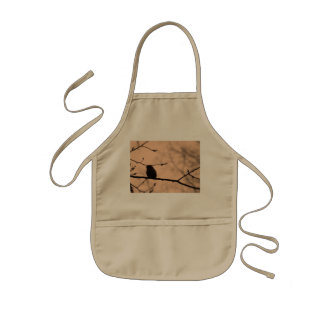 Chickadee on Branch in Twilight Silhouette Kids Apron