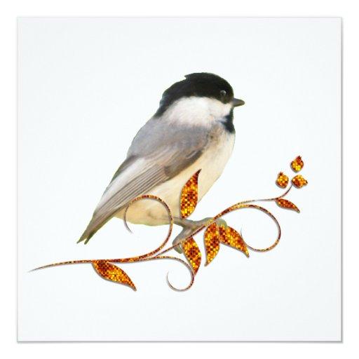 Chickadee on Jewelled Leaves Custom Invites