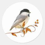 Chickadee on Jewelled Leaves Round Sticker
