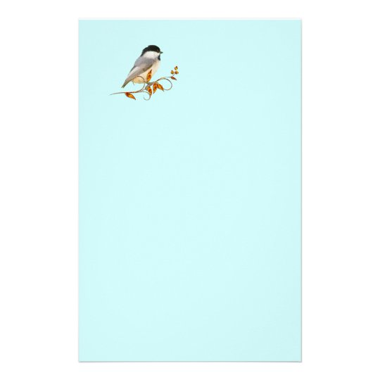 Chickadee on Jewelled Leaves Stationery