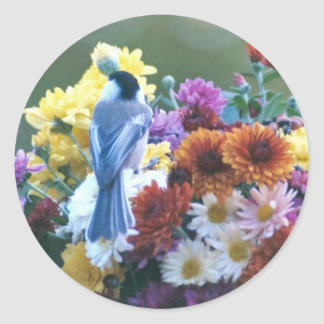 CHICKADEE ON MUMS CLASSIC ROUND STICKER