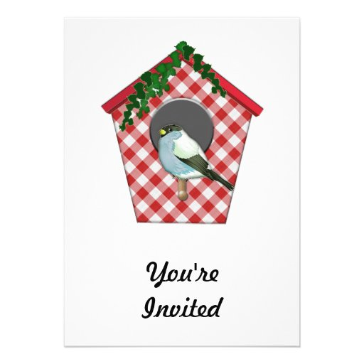 Chickadee on Red Gingham Ivy Covered House Invitations