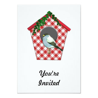 Chickadee on Red Gingham Ivy Covered House 5x7 Paper Invitation Card