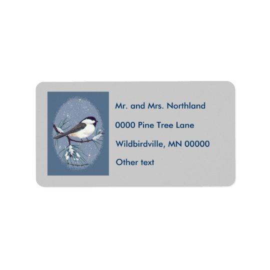 Chickadee Oval Grey Background Address Label