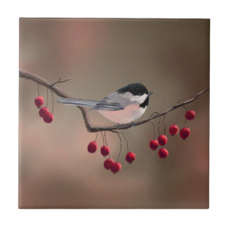 CHICKADEE & RED BERRIES 2 by SHARON SHARPE Small Square Tile