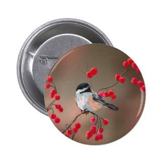 CHICKADEE & RED BERRIES by SHARON SHARPE 6 Cm Round Badge