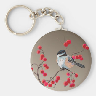 CHICKADEE & RED BERRIES by SHARON SHARPE Basic Round Button Key Ring