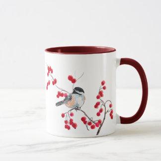 CHICKADEE & RED BERRIES by SHARON SHARPE Mug