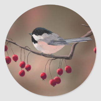 CHICKADEE & RED BERRIES by SHARON SHARPE Round Sticker